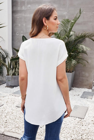 White Zip To It Blouse