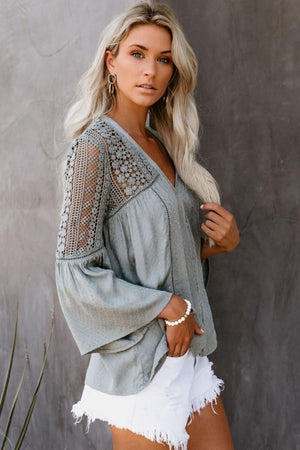 Grey The Du Jour Crochet Blouse