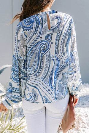 Sky Blue Crewneck Floral Printed Balloon Sleeves Blouse