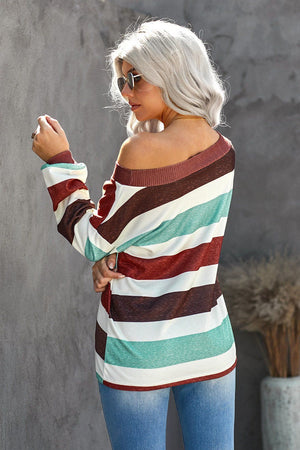 Brown One Shoulder Striped Color Block Lantern Long Sleeve Top
