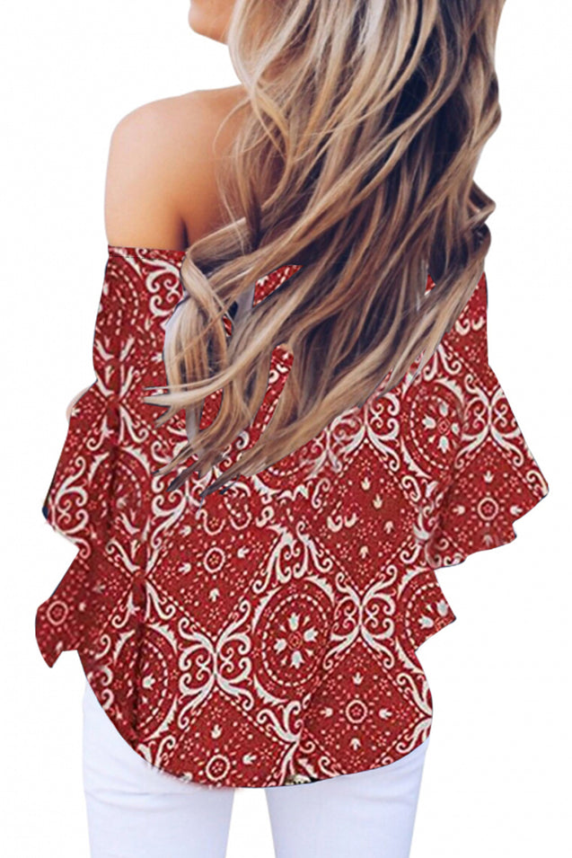 Red Bohemian Floral Print Off The Shoulder Blouse