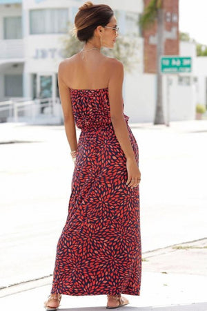Red Bohemian Bandeau Floral Print Maxi Dress