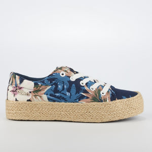 Miss Black Quebec Floral Print Flatform Sneakers - Navy