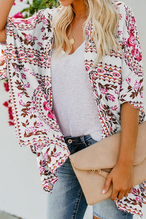 White Floral Kimono Cardigan Open Front Cover Up