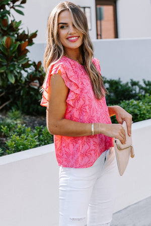 Pink Floral Ruffle Short Sleeve Top