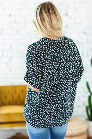 Black Chloe Animal Print V-neck Rolled Sleeve Tunic Top