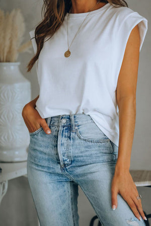 White Cotton Blend Round Neck Top