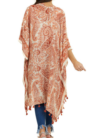 Orange Boho Paisley Print Kimono Beach Cover up with Tassel