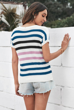 Short Sleeves Crew Neck Striped Knitted Top