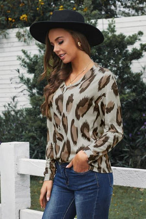 Leopard V Neck Long Sleeve Top
