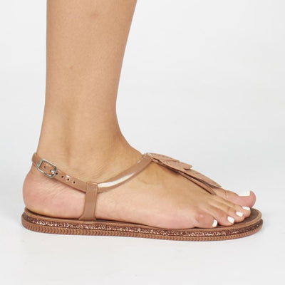 Via Beach Marble Flat Sandal - Bronze