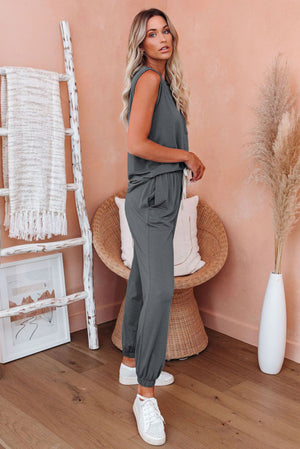 Grey AM To PM Knit Pocket Tank and Joggers Sports Wear
