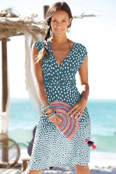 Sky Blue Gradient Polka Dot V Neck Sleeveless Dress