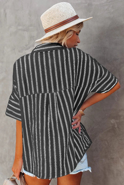 Black Short Sleeve Striped Shirt
