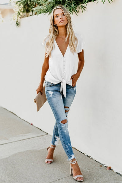 White Forever Tonight Button Down Tie Top