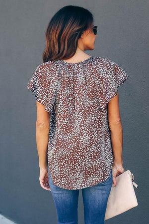Brown V-neck Short Sleeve Fashion Print Fantasy Fluttering Blouse