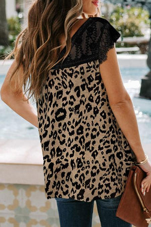 Eyelash V Neck Leopard Lace Top