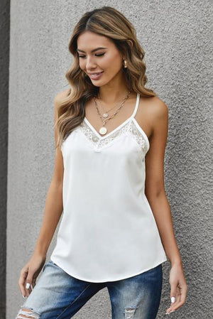 White Lace Detail Tank Top