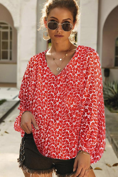 Red Boho Print Balloon Sleeve Blouse