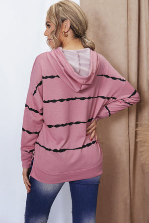 Pink Tie-dye Striped Drawstring Hoodie with Side Split