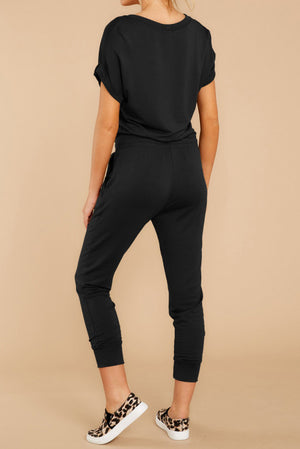Black V Neck Wrap Front Jumpsuits