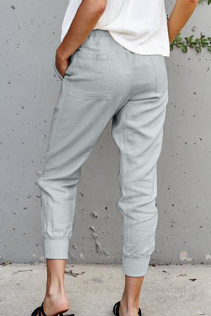 Grey Casual Pockets Pants