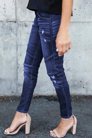Dark Blue Distressed Patchwork Skinny Jeans
