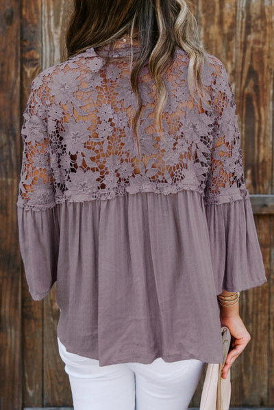 Purple Crochet Lace Button Top
