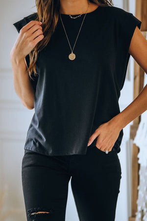 Black Cotton Blend Round Neck Top