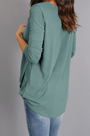 Green Wrap Hi-lo Hem Blouse