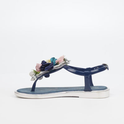 Via Beach Levanzo Floral Flat Sandal - Navy (For Girls)