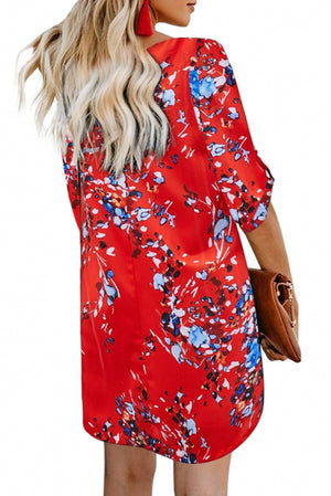 Orange V Neck 3/4 Roll Sleeve Button Down Floral Dress