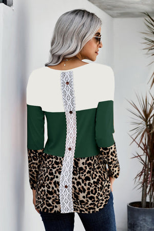 Green Colorblock Leopard Triple Patchwork Long Sleeve Top