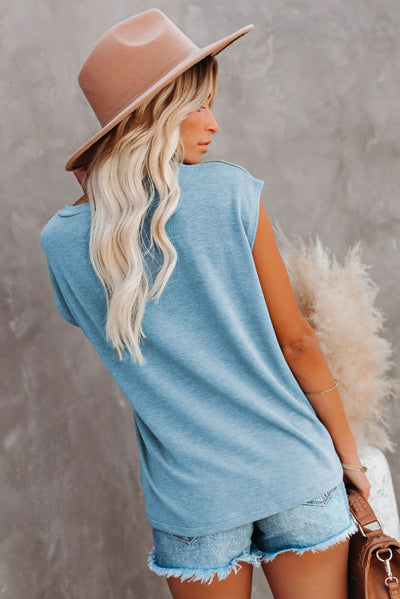 Knit Pocketed Tee with Side Slits