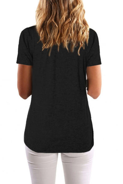 Black Button Up Crinkle Chest T Shirt