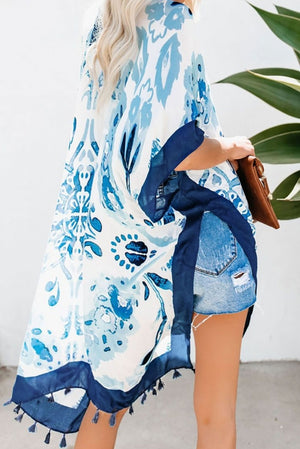 Blue Bohemian Print Open Front Loose Kimono Beach Cover up