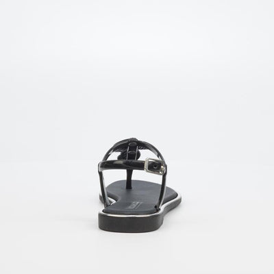 Via Beach Marble Flat Sandal - Black