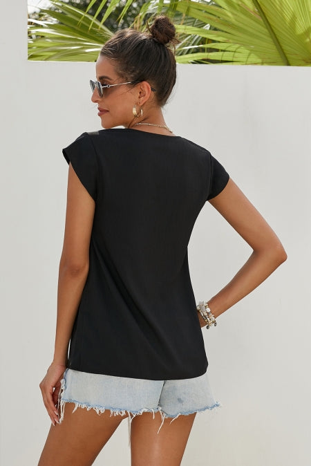 Black Short Sleeve Printed Neck Shift Blouse