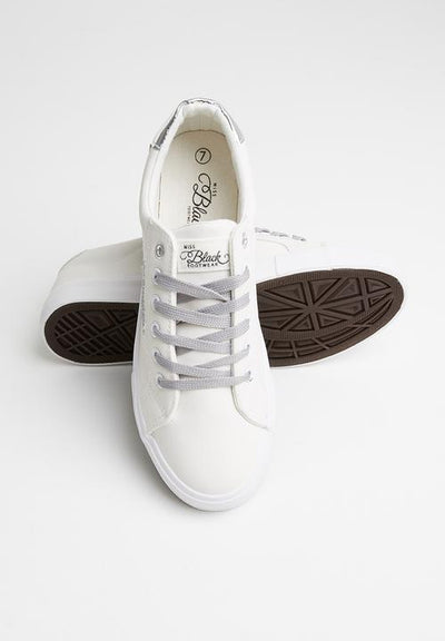 Miss Black Golden Sneaker - Silver