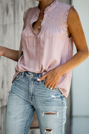 Pink Frilled Tank Top with Buttons
