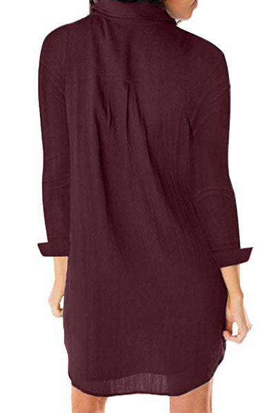Burgundy Long Sleeve Button Down Crepe Shirt Dress
