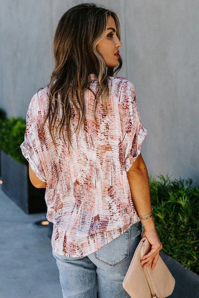Light Pink Short Sleeve Toss and Tumble Printed Pocket Shirt