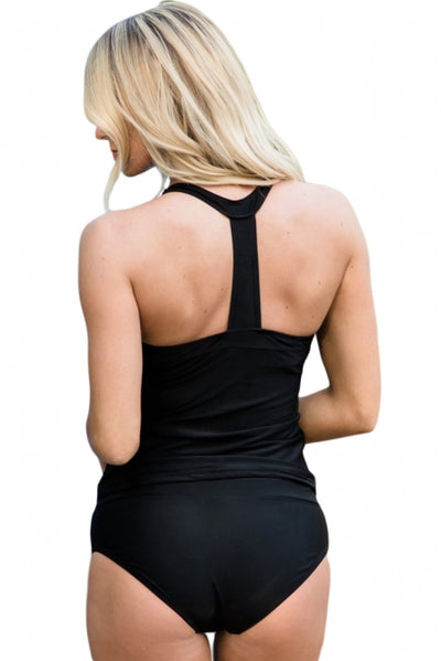 Black Retro Sydney Sporty Tankini