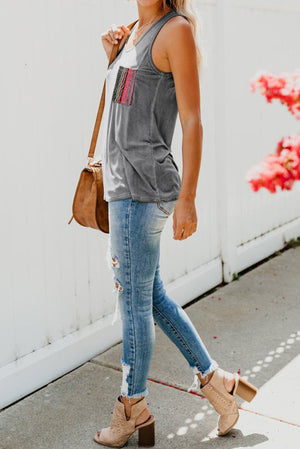 Grey Casual Women Tank Top with Multicolor Pocket