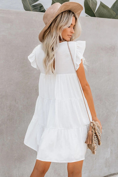 White Pocket Tiered Ruffled Mini Dress