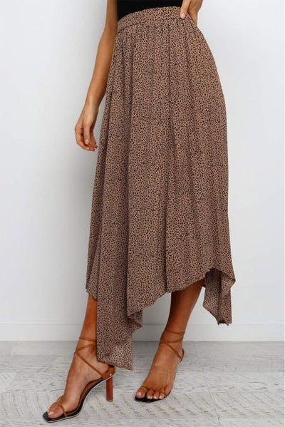 Brown Fashion Print Side Slit Pleated Maxi Skirt
