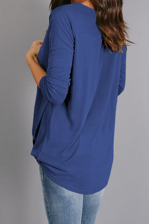 Blue Wrap Hi-lo Hem Blouse
