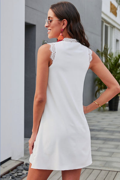White Eyelash V Neck Sleeveless Shift Mini Dress