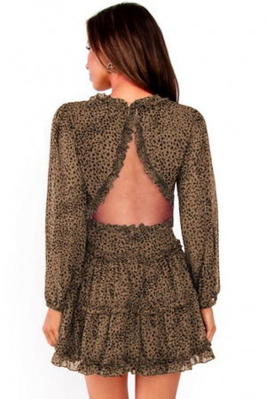 Leopard Ruffle Detailing Open Back Floral Dress