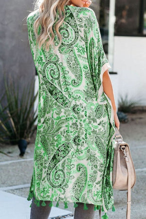Green Boho Paisley Print Kimono Beach Cover up with Tassel